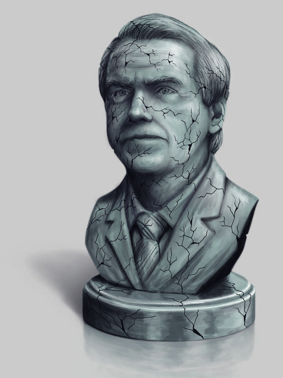 busto de bolsonaro rachando