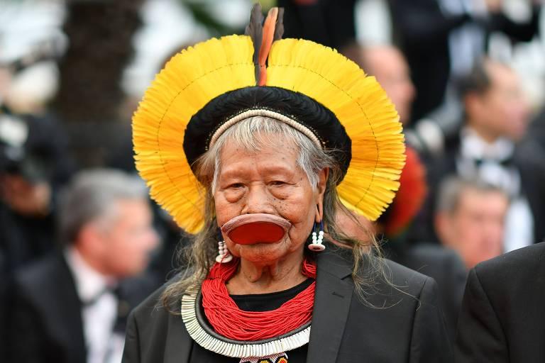 O líder indígena Raoni no Festival de Cannes