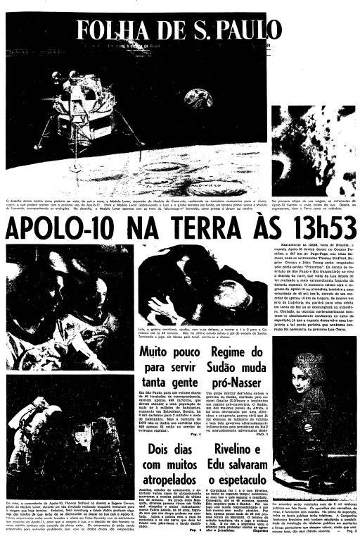Primeira página da Folha de S.Paulo de 26 de maio de 1969