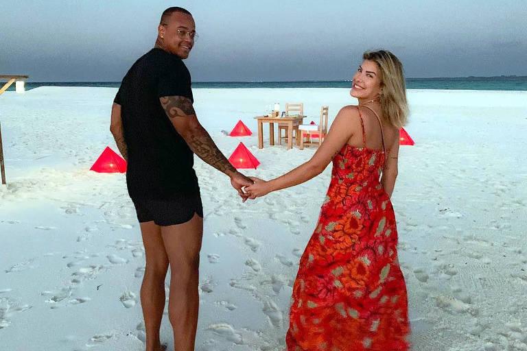 Lorena Improta com o agora ex-noivo, o cantor Léo Santana