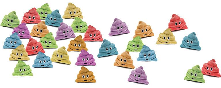 Montagem com emojis de fezes de pelúcia