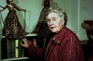 Literature. pic: 1949. English detective novelist Agatha Christie, (1890-1976) pictured at her home. She created the characters Hercule Poirot and Miss Marple.