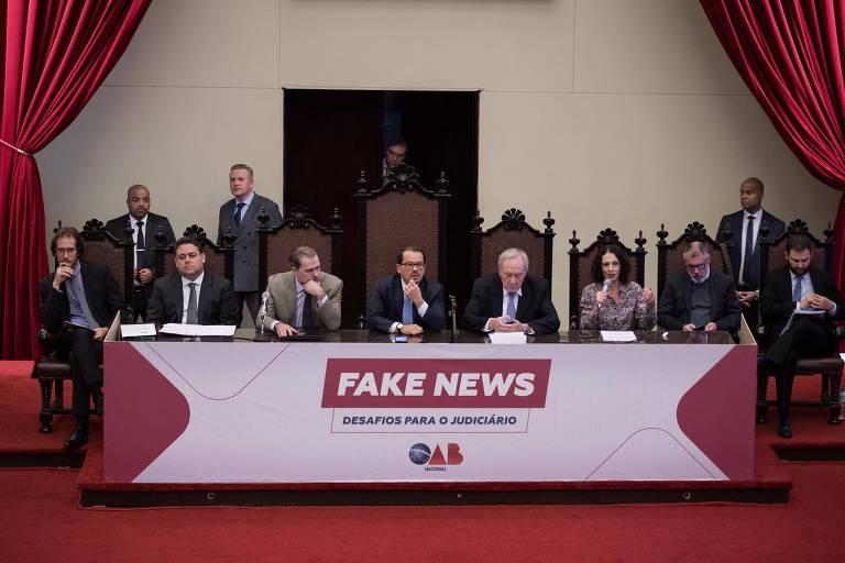 Seminário no Salão Nobre da Faculdade de Direito do Largo São Francisco sobre combate às fake news. Evento teve a presença do diretor de Redação da Folha, Sérgio Dávila, e dos ministros do STF Dias Toffoli e Ricardo Lewandowski