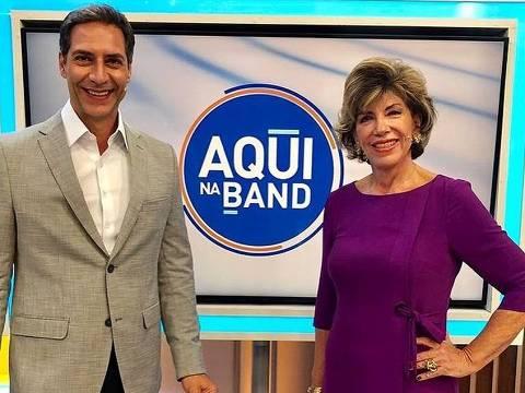 Silvia Poppovic e Luís Ernesto Lacombe no Aqui na Band