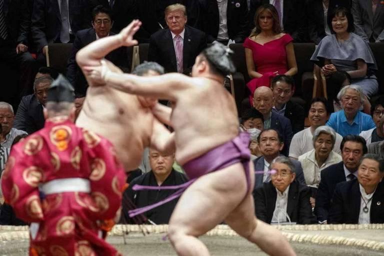O presidente americano Donald Trump assiste torneio de sumô em visita ao Japão