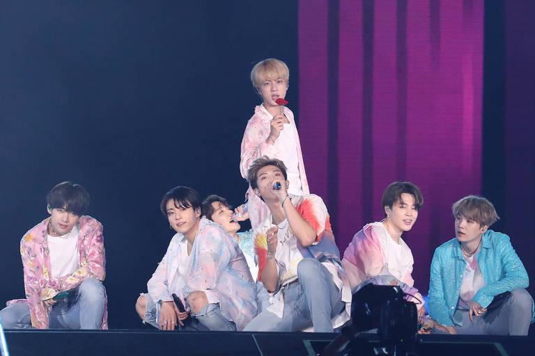 O grupo sul-coreano BTS em apresentação no Allianz Parque