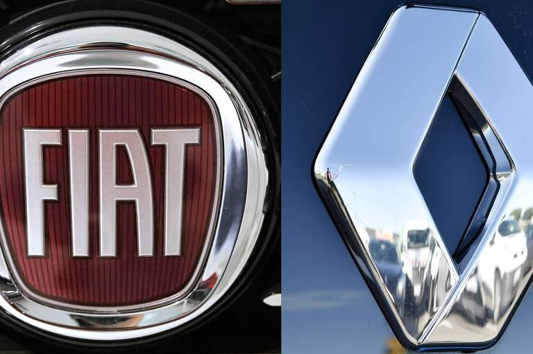 Logos da Fiat e da Renault lado a lado