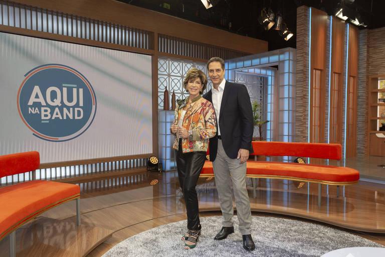 Os apresentadores Silvia Poppovic e Luís Ernesto Lacombe