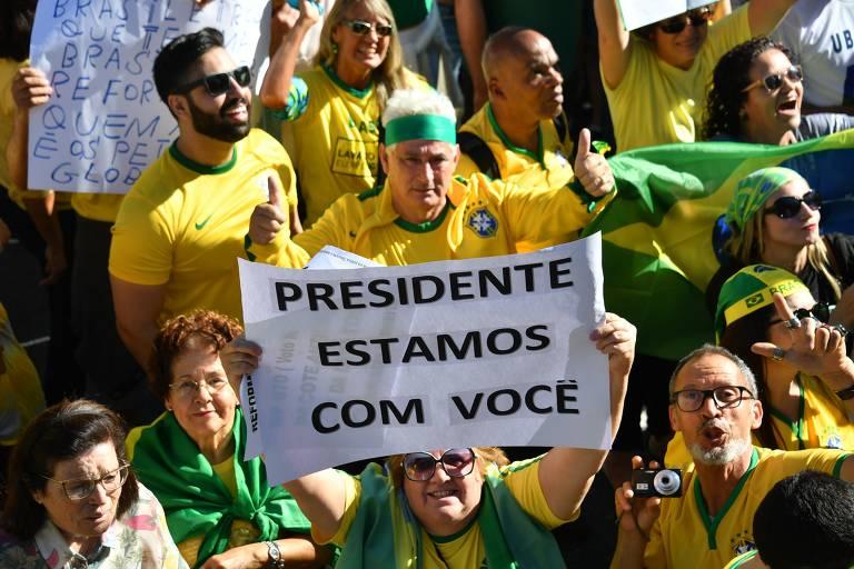 Manifestação a favor de Bolsonaro em maio de 2019