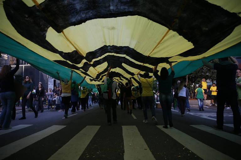 Manifestação em favor do presidente Jair Bolsonaro na avenida Paulista, em São Paulo