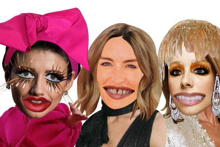 À esquerda, fusão do rosto de Paula Fernandes com o de Lady Gaga; no centro, Angélica com Vanessa Paradis; à direita, Sandy e Céline Dion
