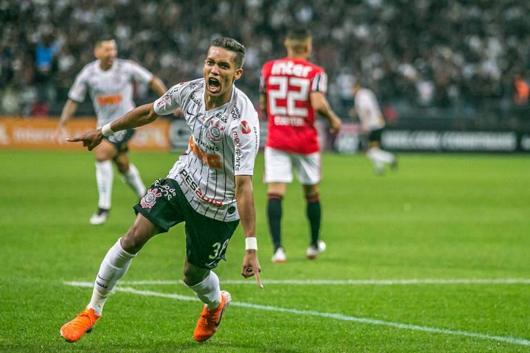 Pedrinho do Corinthians durante partida contra o São Paulo, valido pela sexta rodada do Campeonato Brasileiro 2019, disputada no Itaquerão em São Paulo, na noite deste domingo (26).