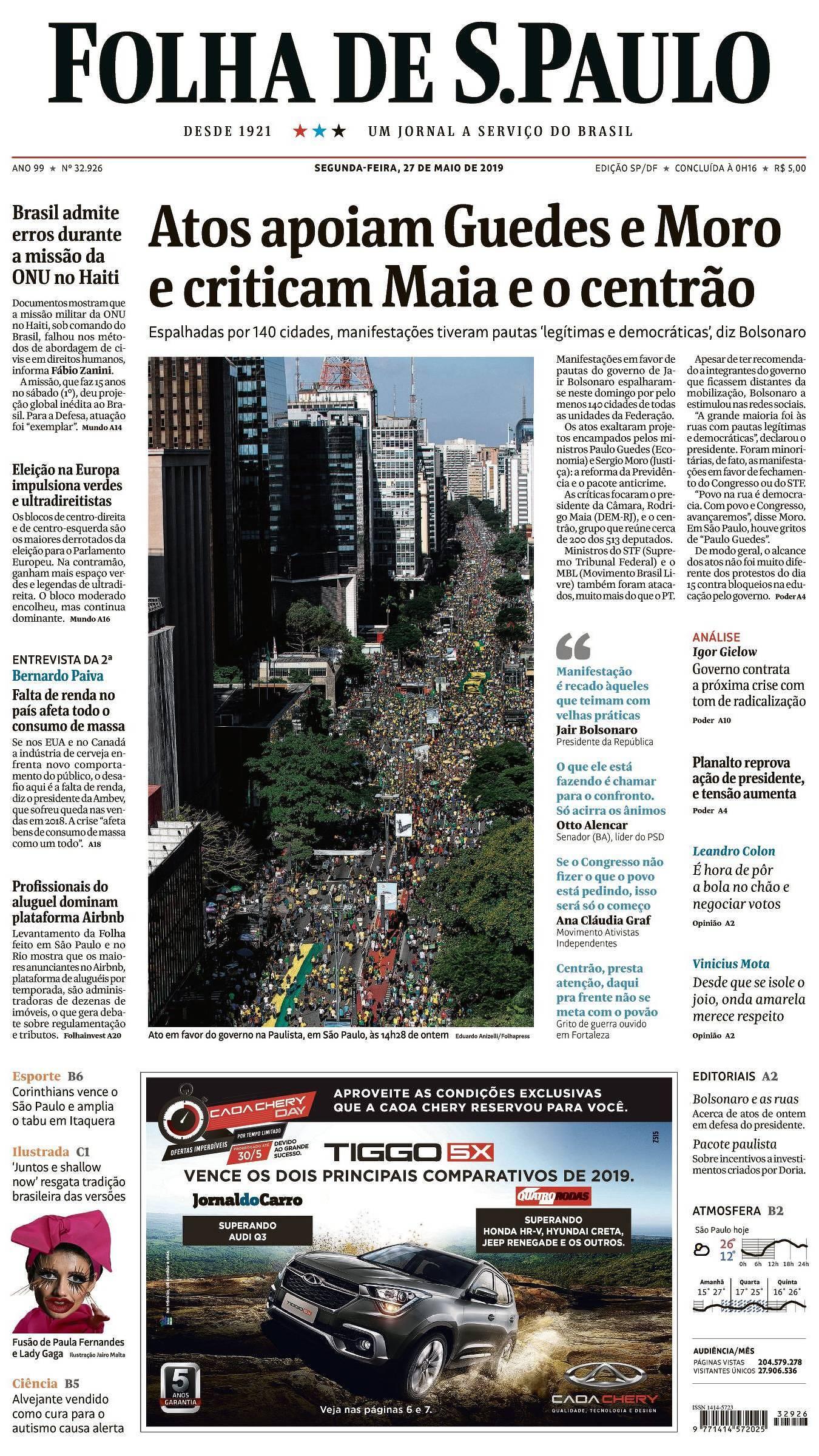 5bad965d1 Capa da Edição São Paulo da Folha