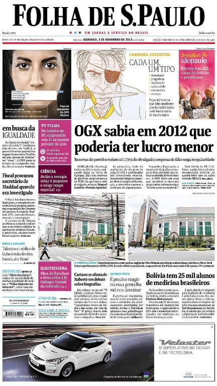 """Manchete da Folha de 3 de novembro de 2013 diz """"OGZ sabia em 2012 que poderia ter lucro menor"""""""