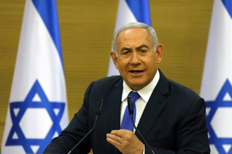 O premiê israelense Binyamin Netanyahu no Parlamento após a Casa aprovar de maneira preliminar sua dissolução