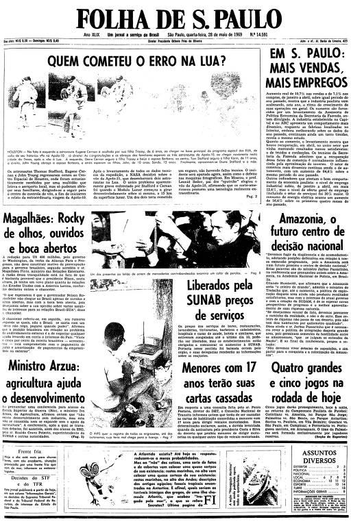 Primeira página da Folha de S.Paulo de 28 de maio de 1969