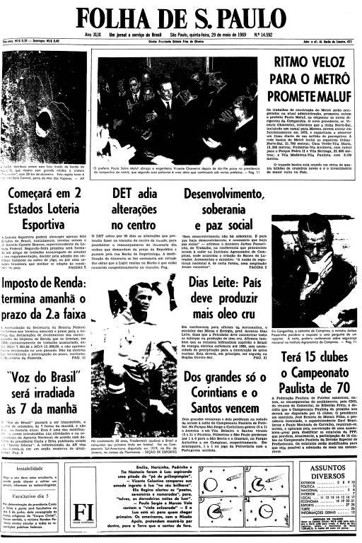 Primeira página da Folha de S.Paulo de 29 de maio de 1969