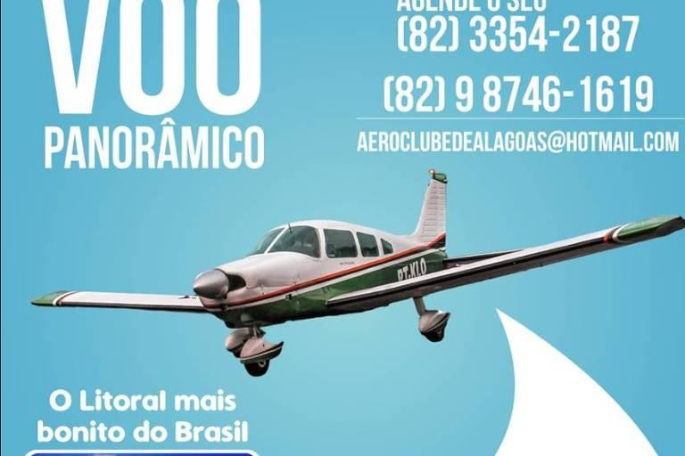 Aeroclube de Alagoas divulga voos panorâmicos em uma rede social