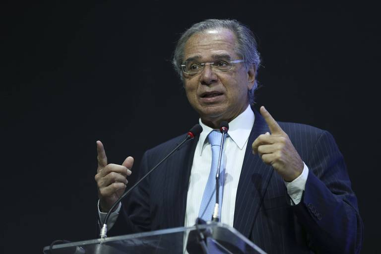 O ministro da Economia, Paulo Guedes, faz palestra em seminário sobre Previdência