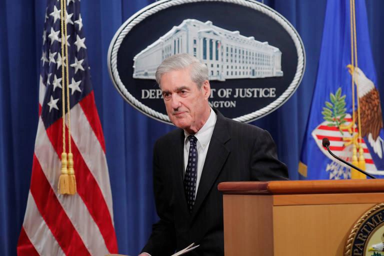 O procurador Robert Mueller após fazer pronunciamento em Washington nesta quarta (29)