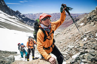 Isabella de la Houssaye on her way to Camp One during the ascent of Aconcagua, the highest summit outside the Himalayas, in Aconcagua Provincial Park, Argentina, on Jan. 11, 2019.