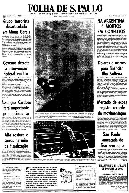 Primeira página da Folha de S.Paulo de 30 de maio de 1969