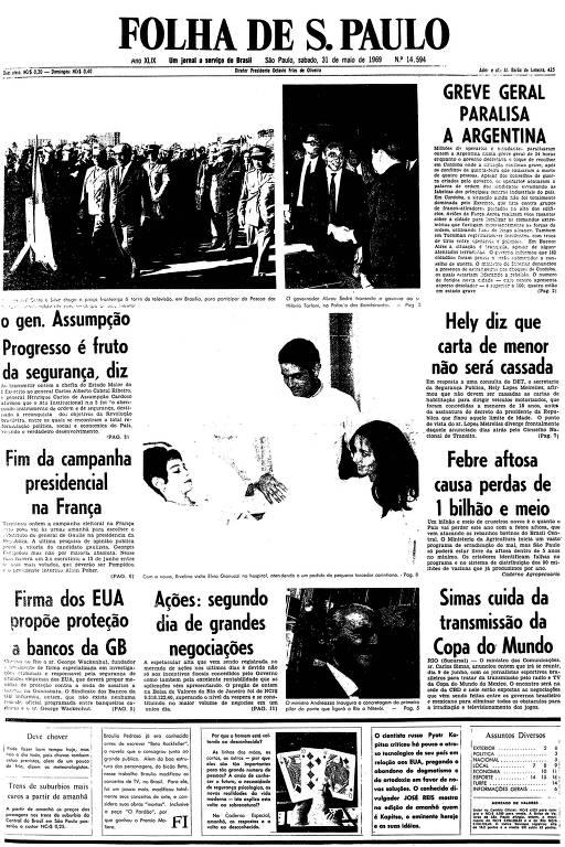 Primeira página da Folha de S.Paulo de 31 de maio de 1969