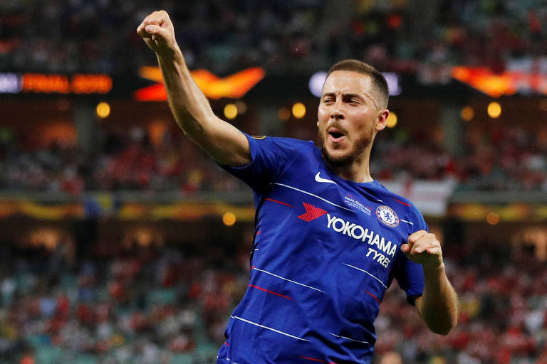Hazard comemora o quarto gol do Chelsea na final da Liga Europa contra o Arsenal