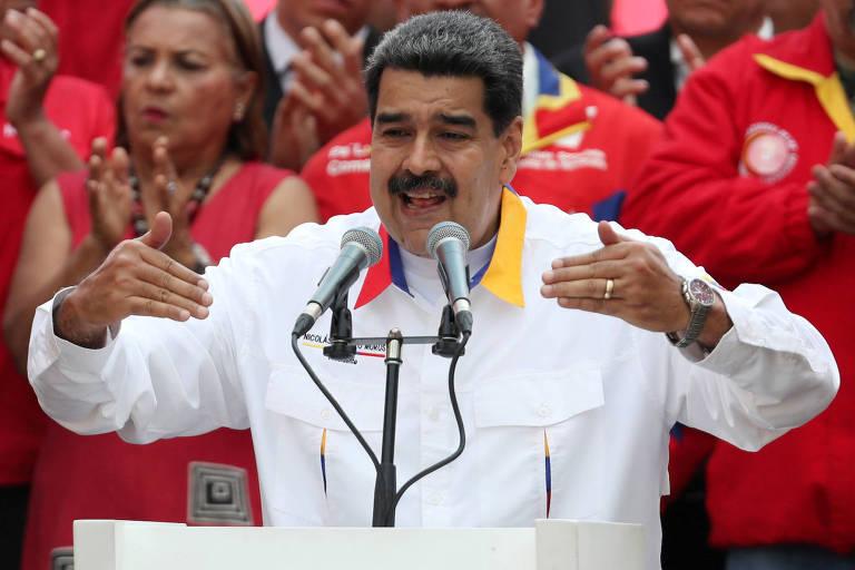 O ditador Nicolás Maduro discursa em evento em Caracas