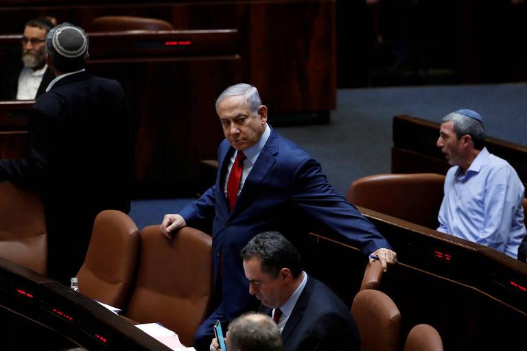 O primeiro-ministro de Israel, Benjamin Netanyahu, no plenário do Knesset