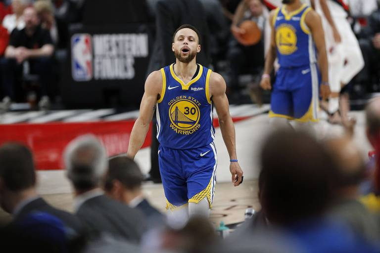 Stephen Curry no último jogo das finais do oeste, contra o Portland Trail Blazers