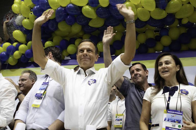 O governador João Doria durante convenção que elegeu o aliado Marco Vinholi no comando do PSDB paulista