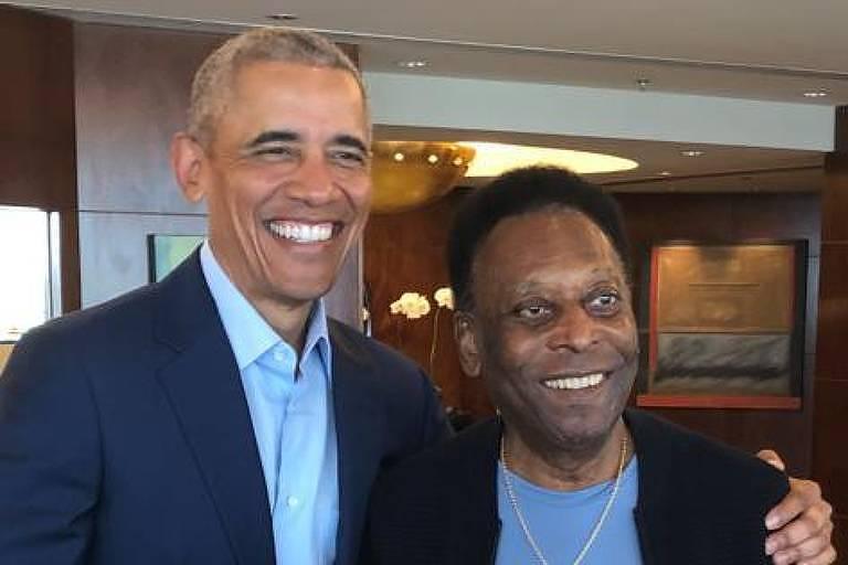 O ex-presidente americano Barack Obama com o ex-jogador Pelé