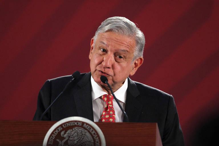 O presidente do México, Andrés Manuel López Obrador, participa de entrevista no Palácio Nacional, na Cidade do México