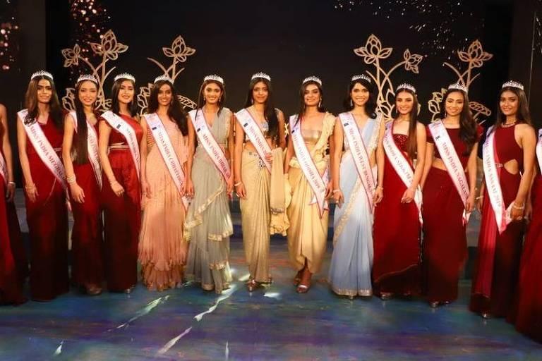Participantes do Miss Índia 2019; críticos dizem que elas todas se parecem e não representam a diversidade de tons de pele do país