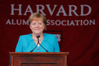 German Chancellor Merkel delivers the Commencement Address at Harvard University in Cambridge