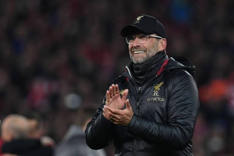 O técnico Jürgen Klopp, do Liverpool, após a vitória sobre o Barcelona na semifinal da Champions