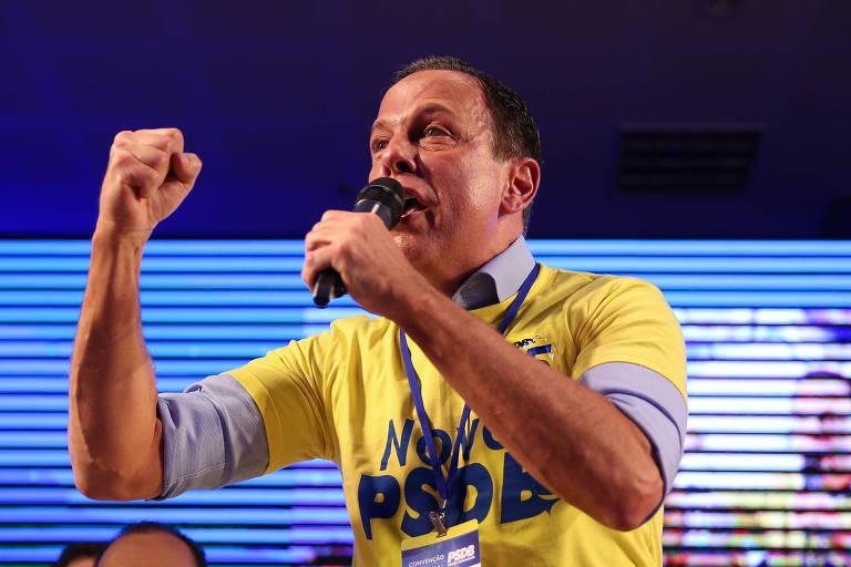 O governador de SP João Dória discursa durante convenção da executiva do PSDB, em Brasília.