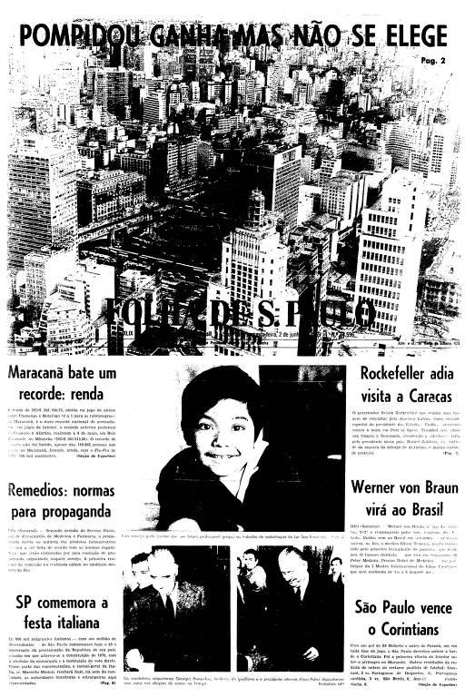 Primeira página da Folha de S.Paulo de 2 de junho de 1969