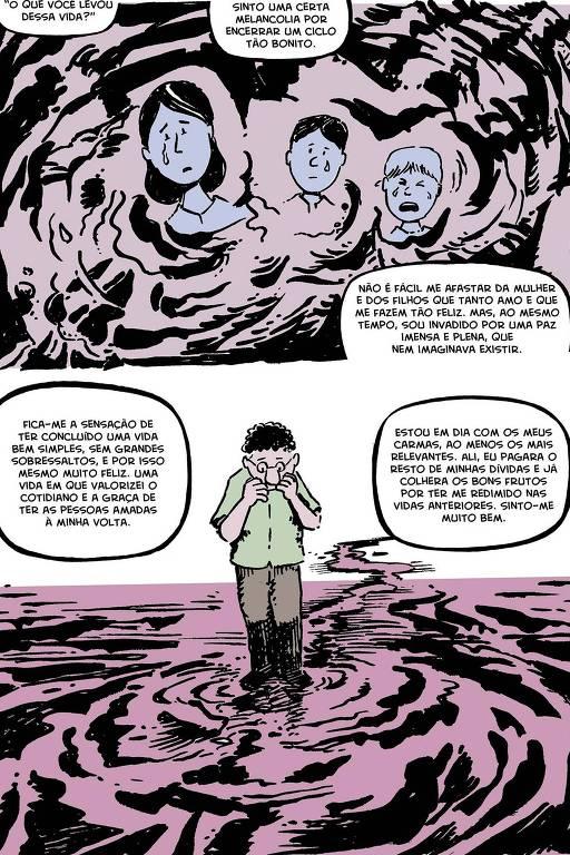"""HQ """"Sete Vidas"""", história de André Diniz com ilustrações de Antonio Eder sobre vidas passadas."""
