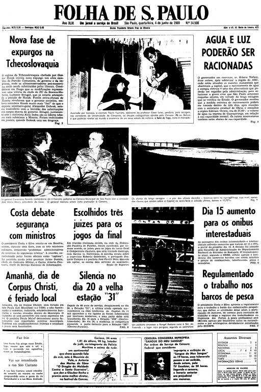 Primeira página da Folha de S.Paulo de 4 de junho de 1969