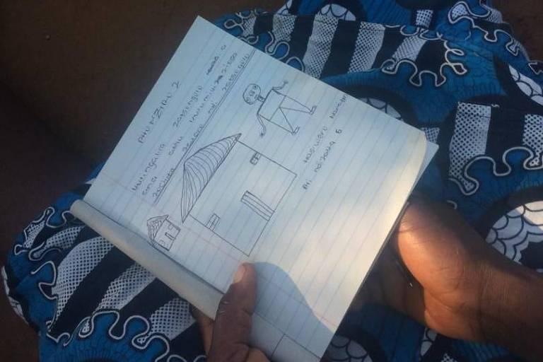 Caderno com desenho no colo de uma mãe do Malaui; desenhos a caneta esferográfica mostram casas e pessoa