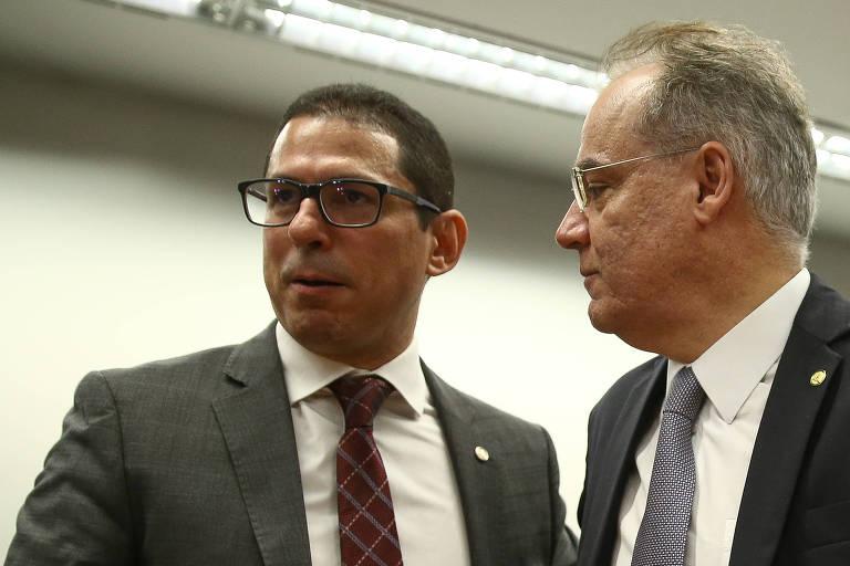 Presidente da comissão especial da reforma da Previdência, Marcelo Ramos (PR-AM), e o relator da reforma deputado Samuel Moreira (PSDB-SP)