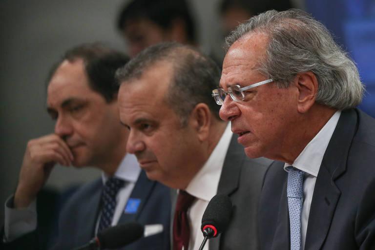 Ministro da Economia, Paulo Guedes, Secretário Especial de Previdência e Trabalho, Rogério Marinho, e Waldery Rodrigues, Secretário Especial de Fazenda do Ministério da Economia