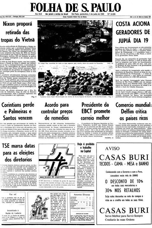 Primeira página da Folha de S.Paulo de 5 de maio de 1969
