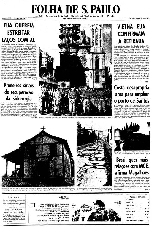 Primeira página da Folha de S.Paulo de 6 de junho de 1969