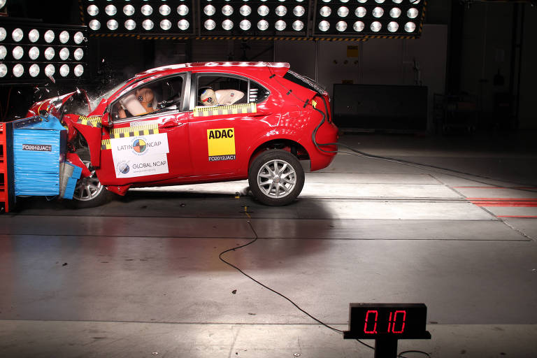 O carro, modelo Jac Motors J3, colite a 64 km/h em teste no da Latin NCAP, que mediu a segurança dos ocupantes em batidas. Segundo o teste, os modelos latino-americanos seguem abaixo dos padrões globais