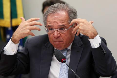 BRASÍLIA, DF, 04.06.2019:  O Ministro da Economia Paulo Guedes durante audiência pública na Comissão de Finanças e Tributação da Câmara dos Deputados. (Foto: ANDRE COELHO/Folhapress)