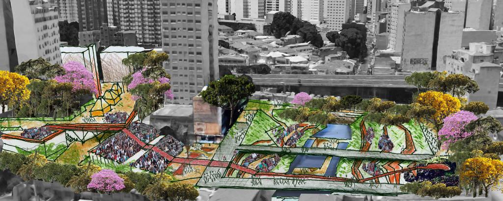 Croqui do Teatro-Parque do Rio do Bexiga, com teatro aberto e passarelas sobre o córrego, ligando as ruas do entornoDivulgação