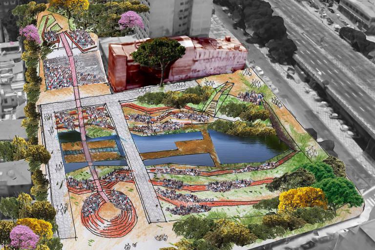 Croqui mostra estudo preliminar para o Teatro Parque do Rio Bexiga ou simplesmente parque do Rio Bexiga; arquitetos ligados ao teatro Oficina mostrarão proposta para parque que é alvo de projeto de lei ora em apreciação na Câmara Municipal de São Paulo; terreno pertence a Silvio Santos e seu uso é alvo de disputa
